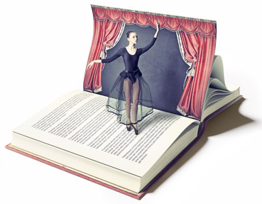 Ballet Dancer and Book-copyrighted image
