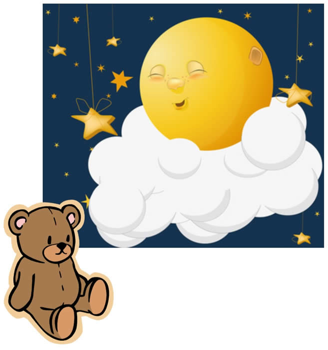 Bedtime Moon Cloud and Teddy Bear