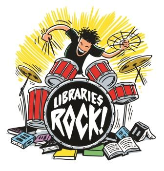 Libraries Rock! Summer Reading Logo-copyrighted. Contact CSLP at contact@cslpreads.org for more information.