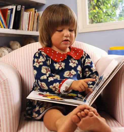 Girl Reading at Bedtime