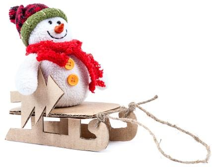 Snowman Cardboard Sled-copyrighted image