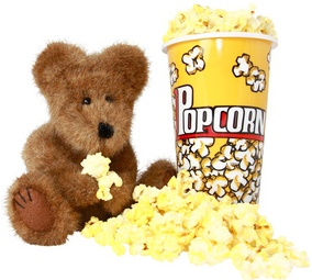 Teddy Bear and Popcorn-copyrighted image