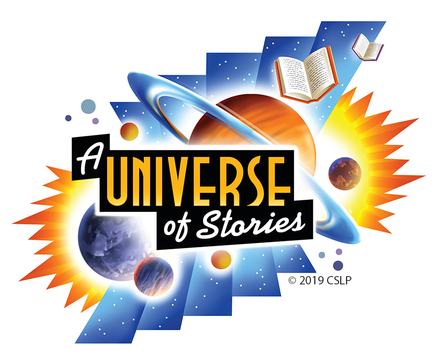"""A Universe of Stories"" 2019 Summer Reading Logo © CSLP"