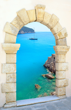 Arch Overlooking Ocean-Copyrighted Image