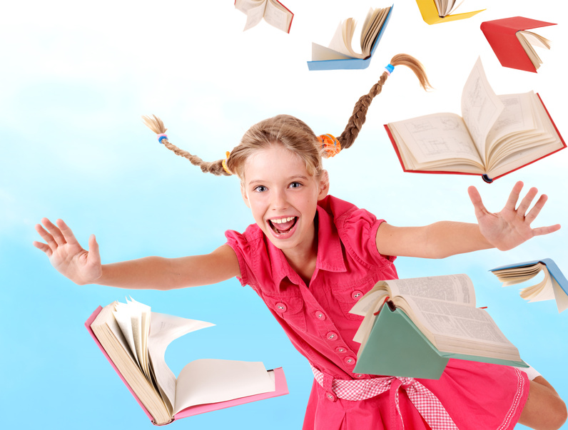 Girl and Books Flying-copyrighted image