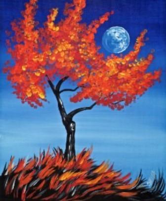 Paint Night Autumn Moon