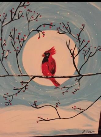 Paint Night-Winter Cardinal-courtesy of Pams Picassos