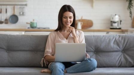 Woman Reading Food Blog-copyrighted image