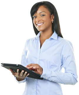 Woman with eReader-copyrighted image/Fotolia.com
