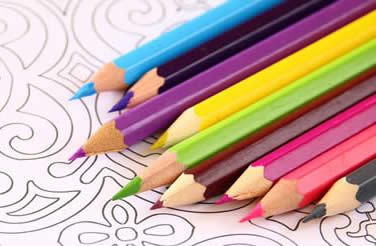 Coloring Book Page and Pencils