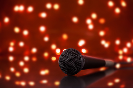 Microphone and Stage Lights-copyrighted image